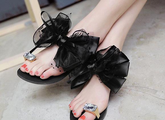 Bowtie Flower Flat Sandal