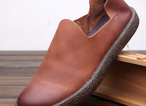 Leather Solid Slip on