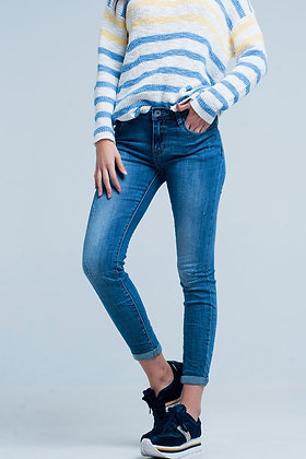 Medium Blue Wash Little Ripped Jeans