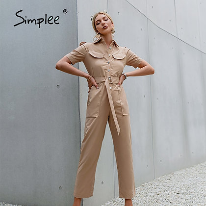 White Puff Sleeve Lace-Up Jumpsuit
