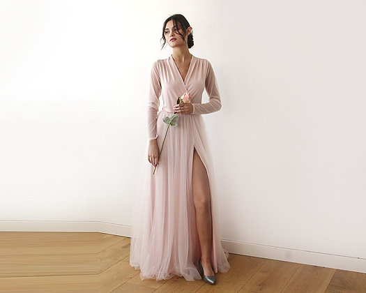 Pink Wrap Tulle Gown With Long Chiffon Sleeves and Slit