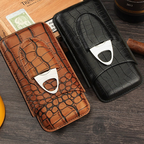 Leather Cigar Case Portable