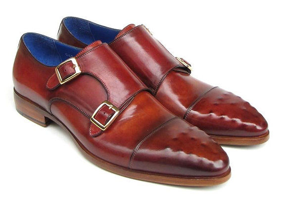 Double Monkstrap Burgundy Leather