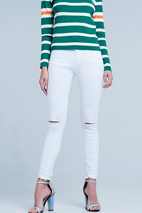 White Skinny Jeans With Ripped Knees Detail