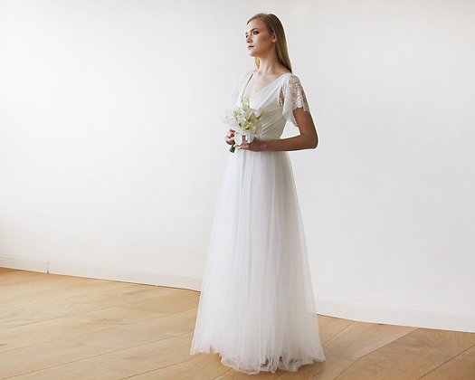Ivory Lace Sleeves & Maxi Tulle Bridal Gown