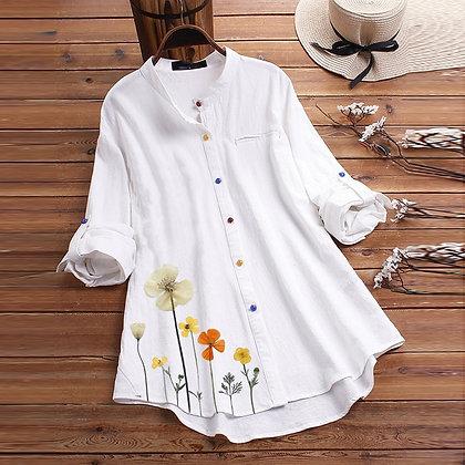 Flower Print Button Shirt Casual