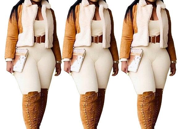 Artificial Fur Cardigan Jacket