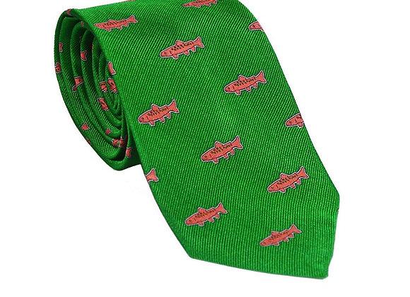 Trout Necktie - Green, Woven Silk