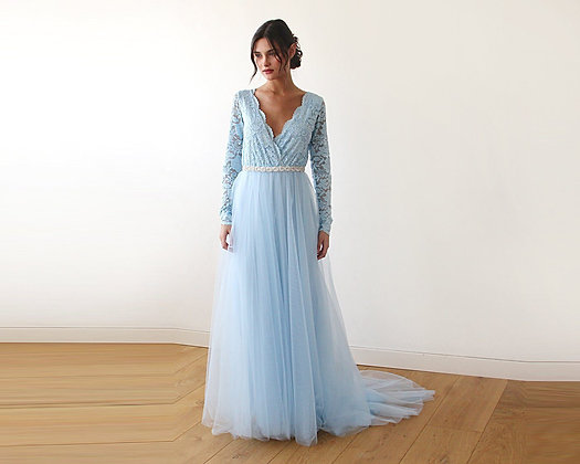 Light Blue Tulle and Lace Long Sleeve Wedding Train Gown