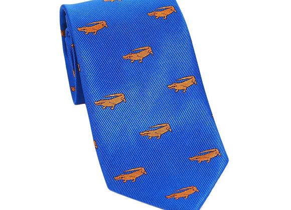Alligator Necktie - Blue, Woven Silk