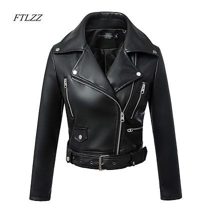 Motor Biker Jacket With Belt