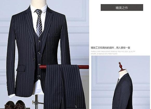 Stripe Men's Dress Business Suit
