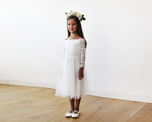 Off-The-Shoulder Ivory Lace & Tulle Midi Girls Gown