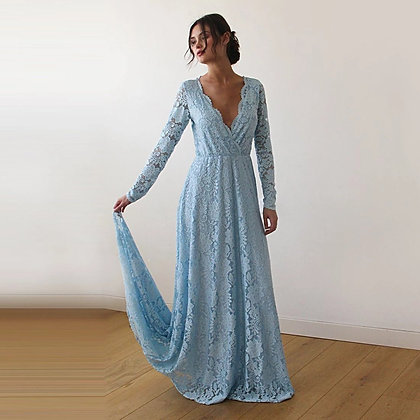 Light Blue  Wrap Floral Lace Long Sleeve Gown