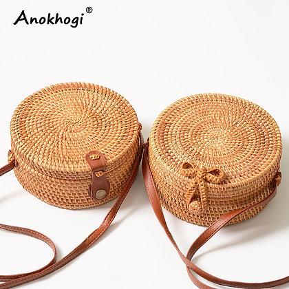 Woven Bow Shoulder Bag