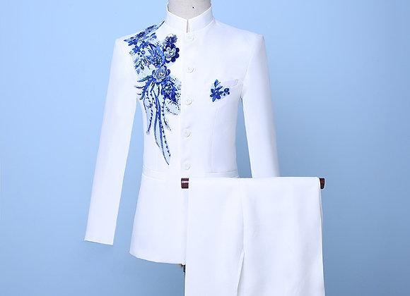 Blue Sequin Groom Suit