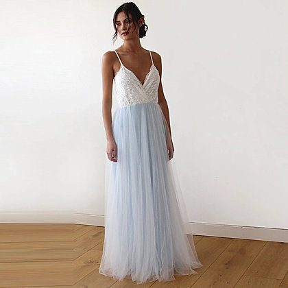 Fairy Ivory & Light Blue Tulle Wedding Gown, Two Colors Dress