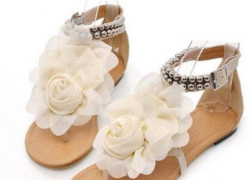 Flower Flat T-strap Sandal