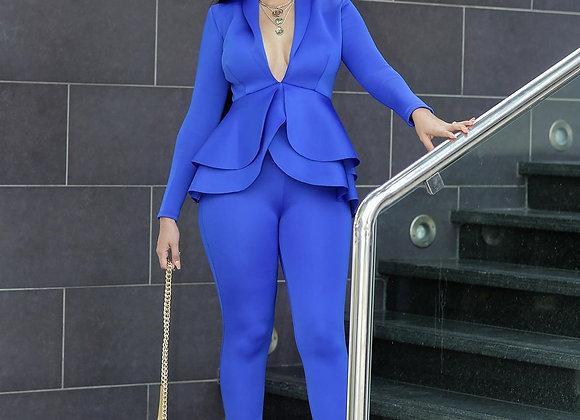 Ruffle Blazer Pants Set