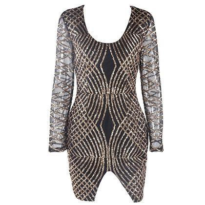 Black Sequin Party Dress