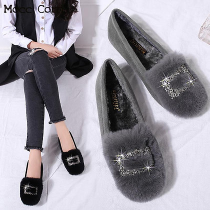 Crystal Fur Loafers