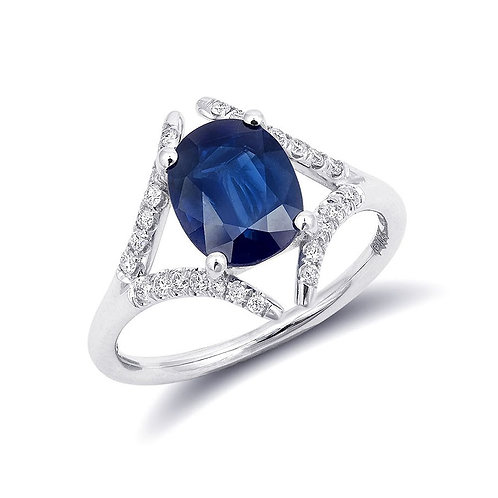14k White Gold 2.32ct TGW Blue Sapphire and White Diamond Split-Shank Ring