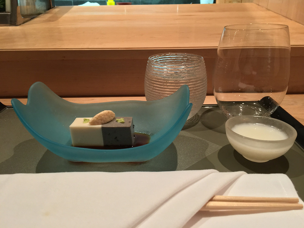 Over the course of three hours, we had: 1. Goma tofu: black sesame and white sesame tofu, served with wasabi soy sauce and soy foam. The server told us to drink the nigori sake served with the dish first. Biting into the tofu, I was happily surprised by the nutty taste of the sesame