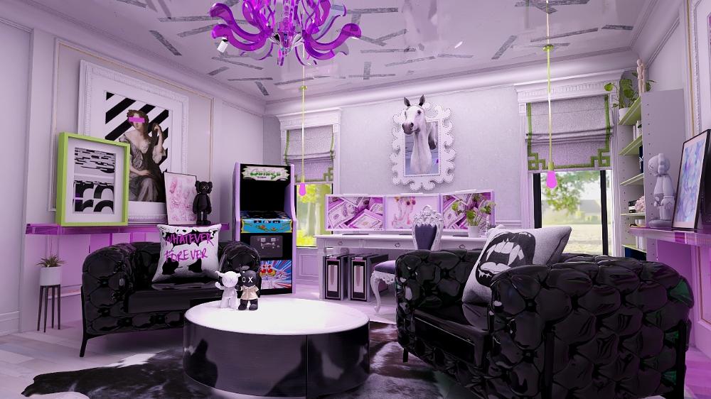 Edesign in 3D living room render visual