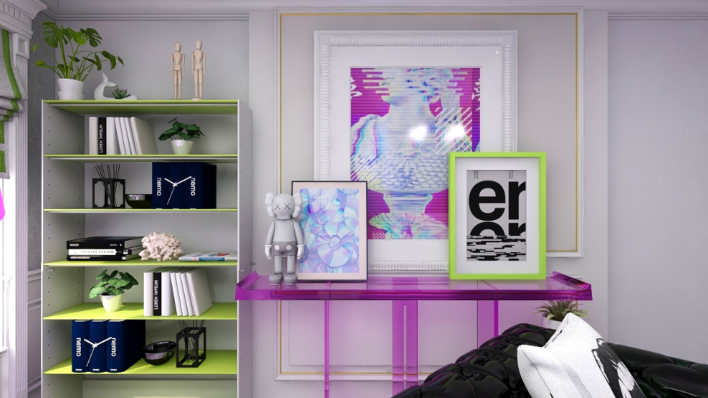 3D online interior design render of living room with purple and green colors