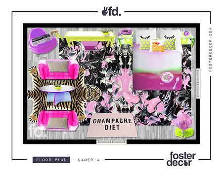 Foster Decor Edesign Concept A , Gamer Design, Pink, Bold