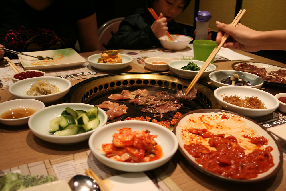 Korean Barbecue and Banchan appetizers