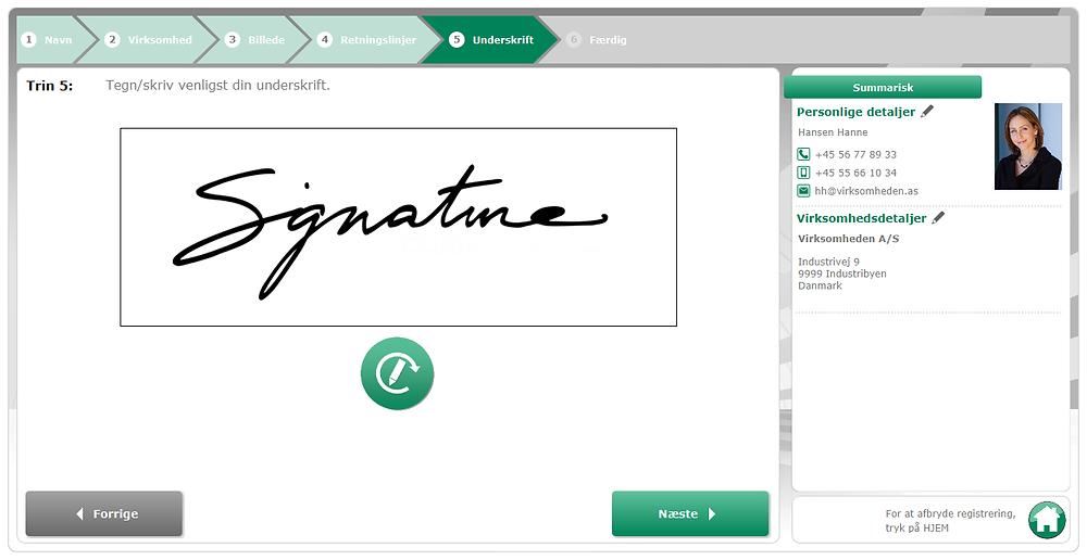 Gæsteregistrering med Prime Visit - underskrift signatur