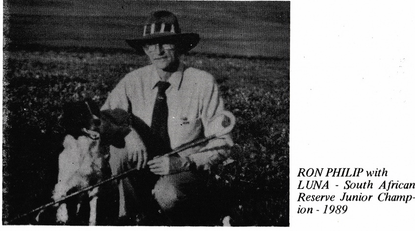 Ron Philip with Luna Reserve Junior Champion 1989