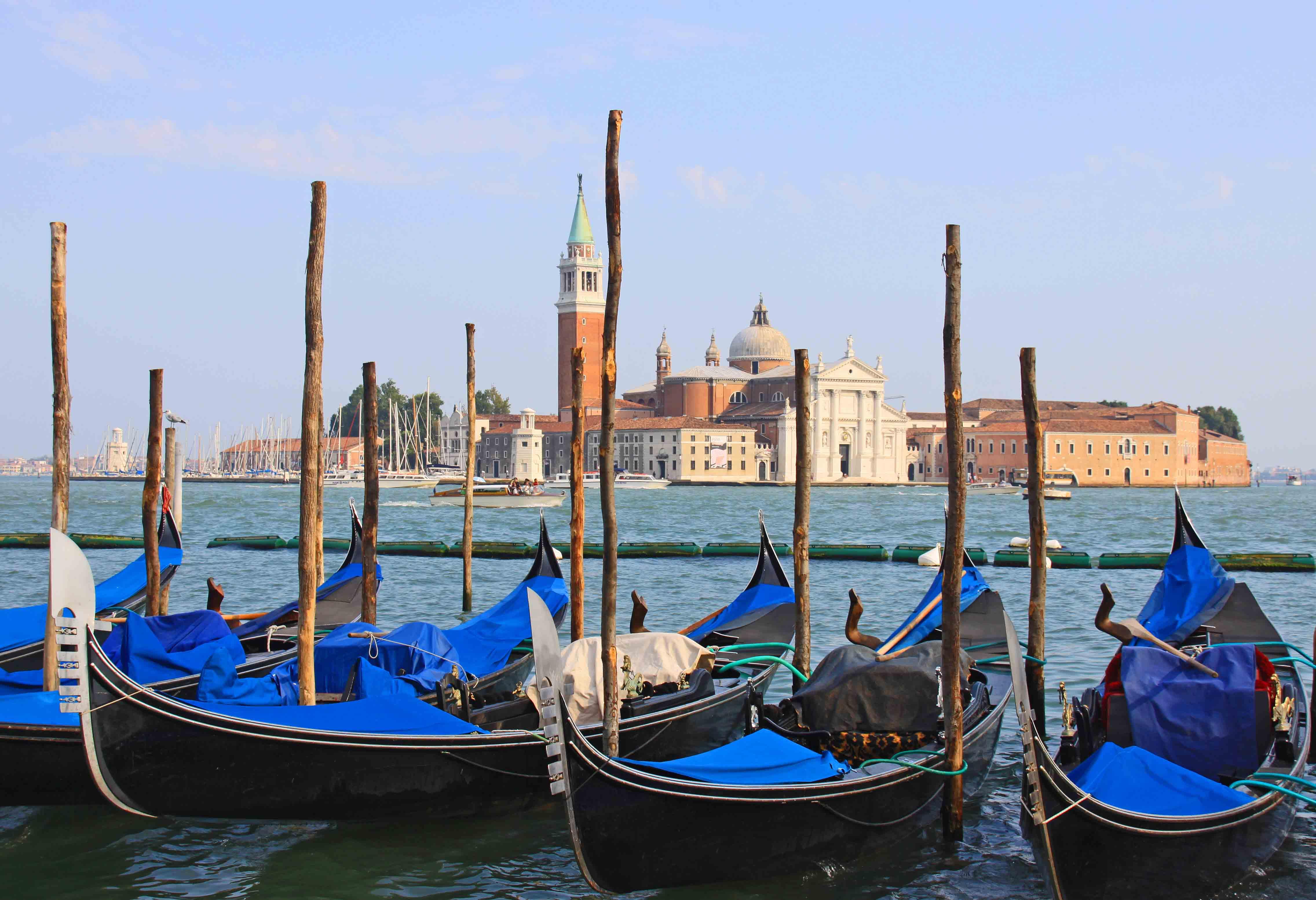 Gondolas Along the Canal - Venice, Italy