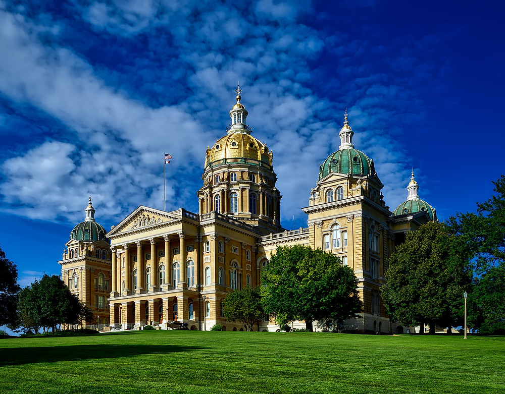 The Iowa State Capitol on a sunny day.