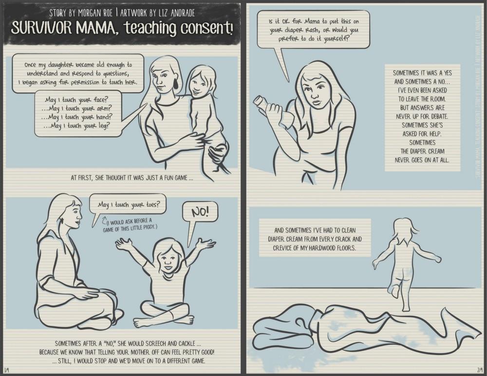 Survivor Mom, teaching consent page 1-2 (description below