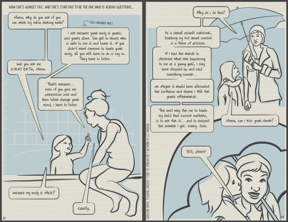 Survivor Mom, teaching consent, page 3-4 (description below)