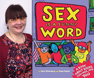 "A photo of KellyMarie Meek and her book, ""Sex is a Funny Word."""