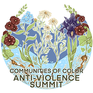 Logo for the Communities of Color Anti-Violence Summit: Flowers and plants rooted in flowing water, reaching upward.
