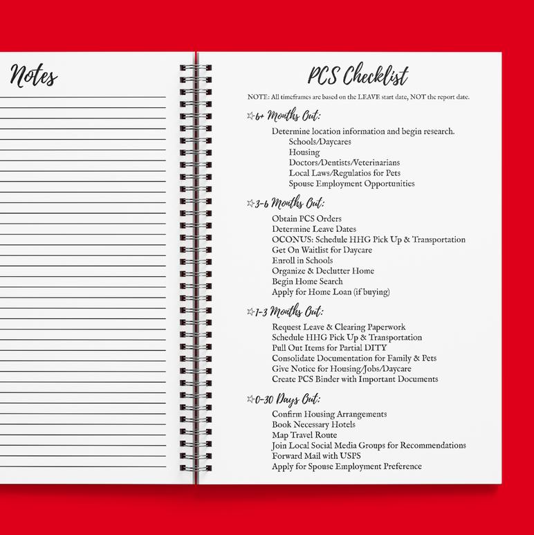 PCS Checklist 2021 Calendar Year Planner