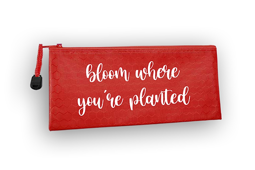 Red Waterproof Bloom Pencil Pouch