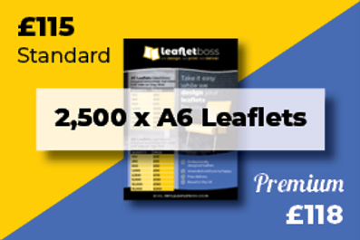 2,500 A6 Leaflets Designed and Printed