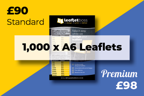 1000 A6  Leaflets Designed and Printed