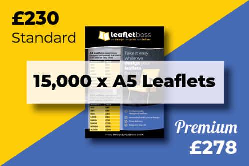 15000  A5 Leaflets Designed and Printed