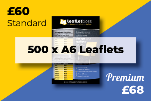 500 A6  Leaflets Designed and Printed