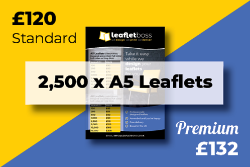2500  A5 Leaflets Designed and Printed