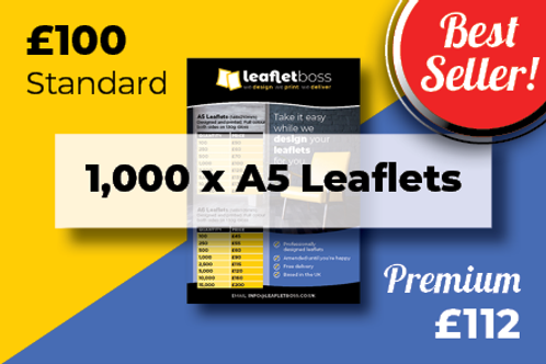 1,000 A5 Leaflets Designed and Printed