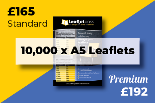 10000  A5 Leaflets Designed and Printed