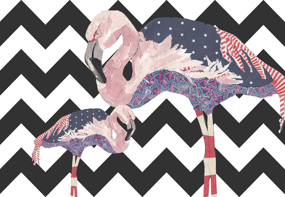 Peacheyboo| British Childrenswear- Flamingo Collage by Lesley Goudman-Peachey