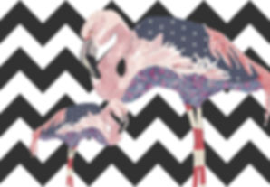 Peacheyboo| British Childrenswear- Flamingo Collage by Lesley Goudman-Peachey